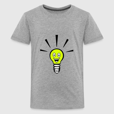 Light bulb with smiley - big idea - Teenager Premium T-shirt