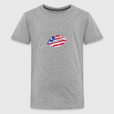 Kiss America flag - Teenage Premium T-Shirt