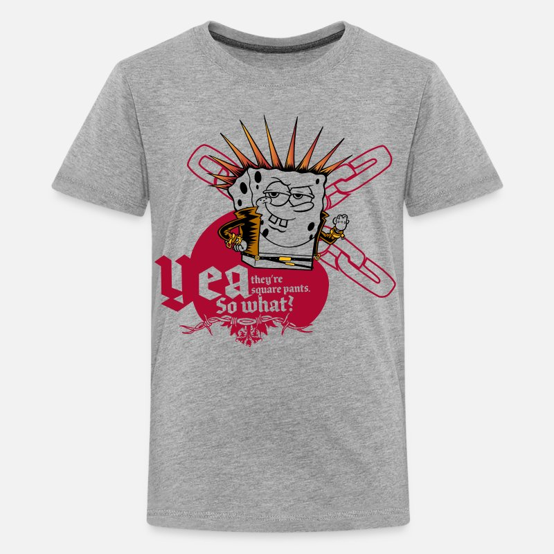 Spongebob Camisetas - Teenagers' Premium Shirt SpongeBob 'Yea, so what?' - Camiseta premium adolescente gris jaspeado