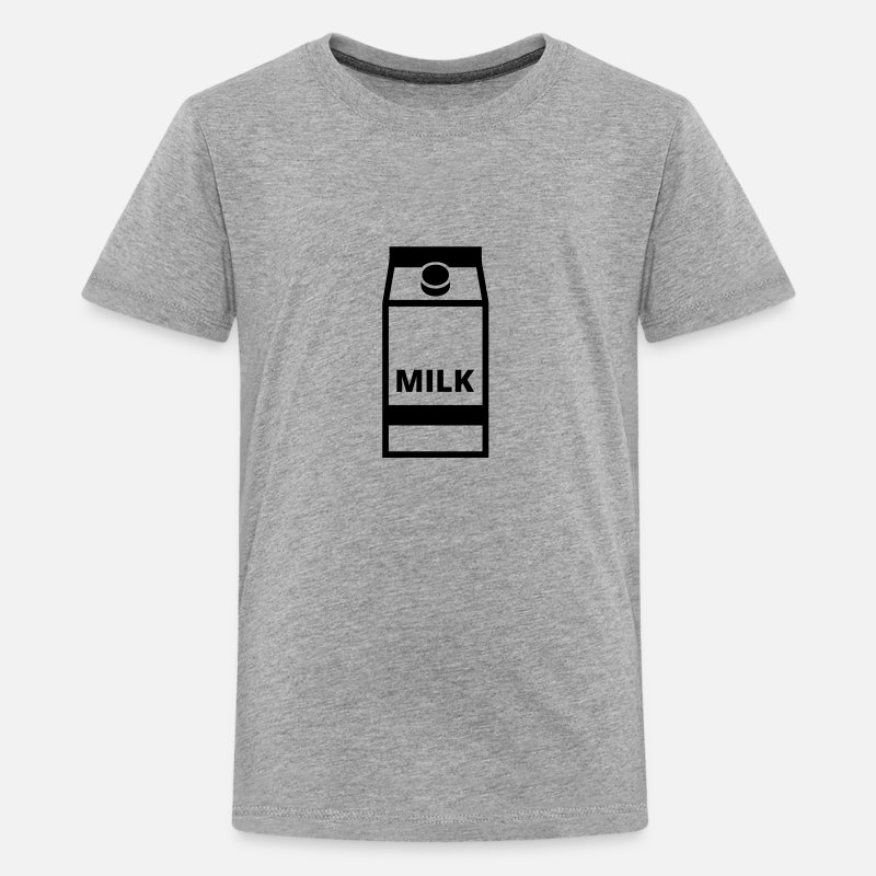 Milk T-Shirts - Milk - Teenage Premium T-Shirt heather grey