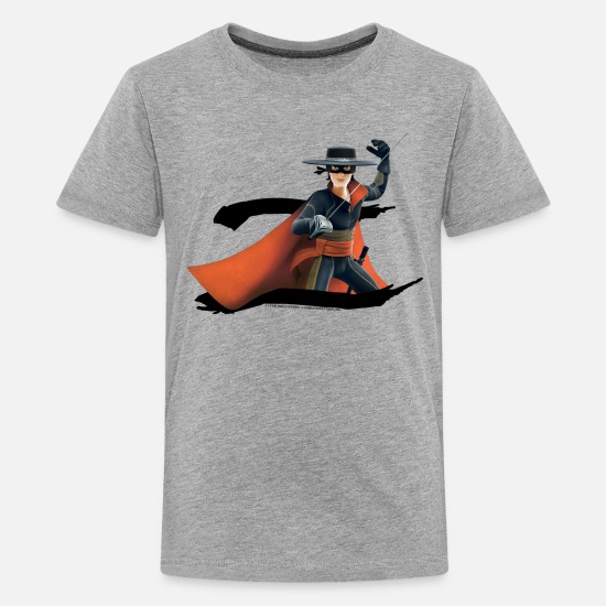 Zorro T-Shirts - Zorro The Chronicles Masked Hero And Letter Z - Teenage Premium T-Shirt heather grey