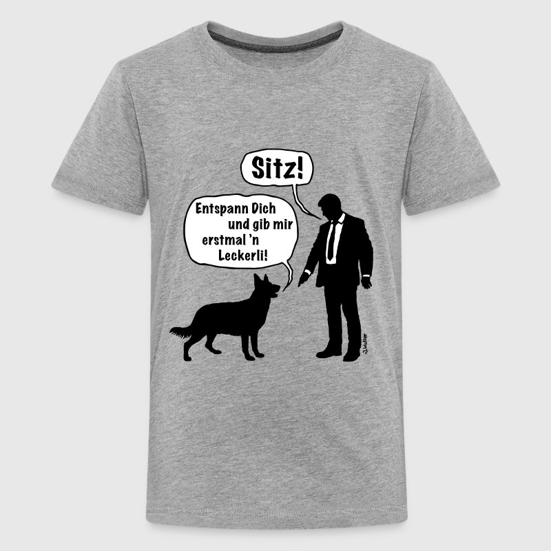 Cartoon, Hund & Herrchen: Sitz! / Leckerli! (2C) - Teenager Premium T-Shirt