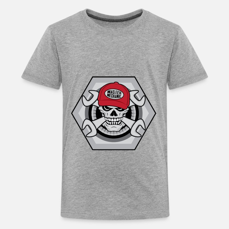 Mechanic T-Shirts - Mechanic Skull - Teenage Premium T-Shirt heather grey