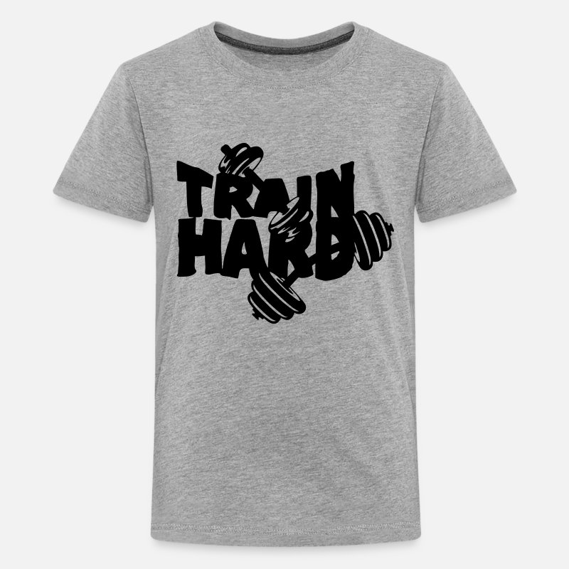 Musculation T-shirts - train hard citation musculation haltere  - T-shirt premium Ado gris chiné