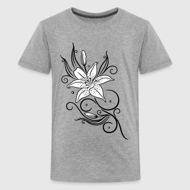 Lilies with filigree tribal ornament, floral. - Teenage Premium T-Shirt