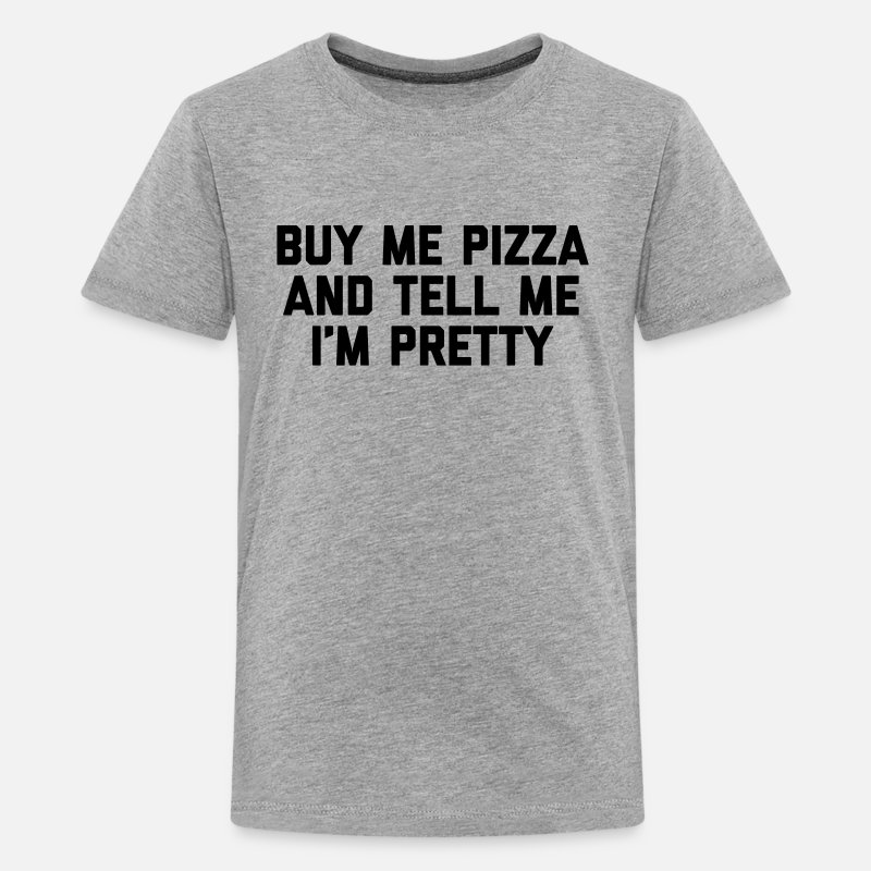 Funny Quotes T-Shirts - Buy Me Pizza Funny Quote - Teenager premium T-shirt grijs gemêleerd