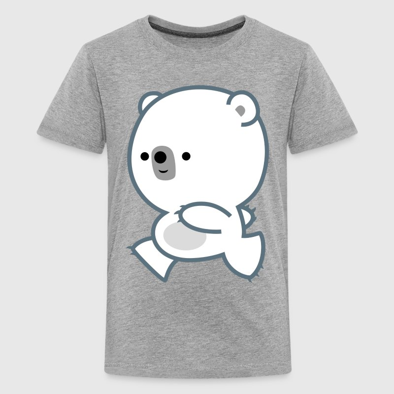 Cute Running Polar Bear Cub by Cheerful Madness!! - Teenage Premium T-Shirt