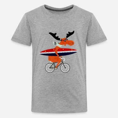 Surfen elch surfing - Teenager Premium T-Shirt