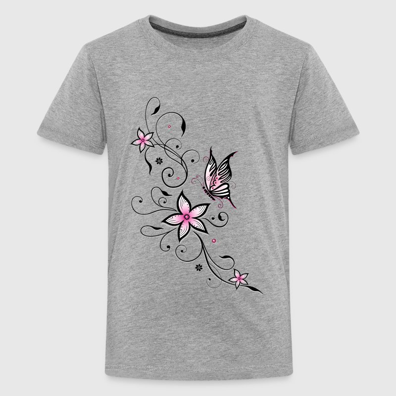 Filigree ornament with butterfly and flowers.  - Teenage Premium T-Shirt