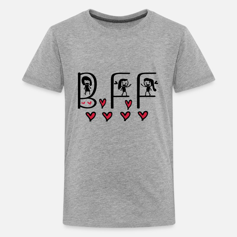 Forever Bff T-Shirts - bff typo with girls - Teenage Premium T-Shirt heather grey