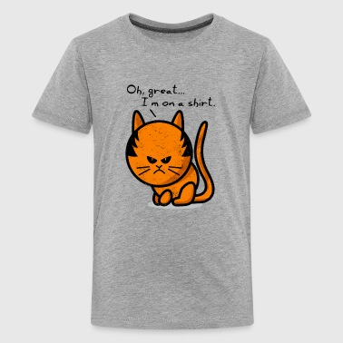 cat grumpy cat grunge on shirt - Camiseta premium adolescente