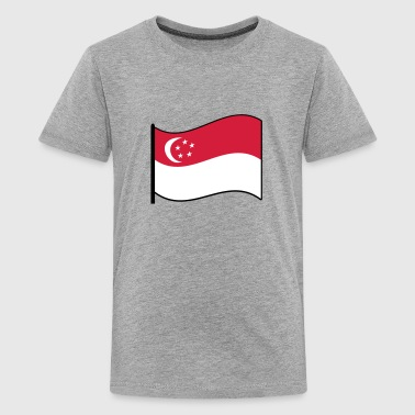 waving singapore flag - Teenage Premium T-Shirt