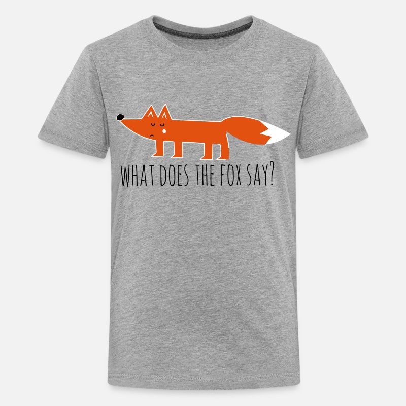 Funny T-Shirts - Funny what does the fox say ring ding meme song - Teenage Premium T-Shirt heather grey