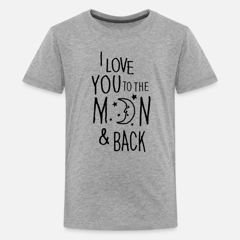 Couples T-Shirts - I LOVE YOU TO THE MOON & BACK - Teenage Premium T-Shirt heather grey