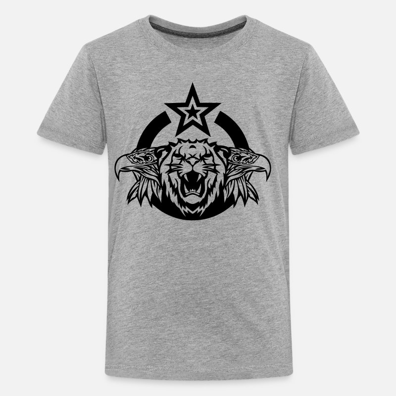 Eagle T-Shirts - Eagle lion logo head roar royal - Teenage Premium T-Shirt heather grey