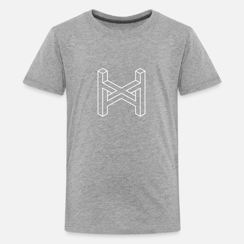Optical Illusion T-Shirts - Impossible Figures 12A - Teenage Premium T-Shirt heather grey