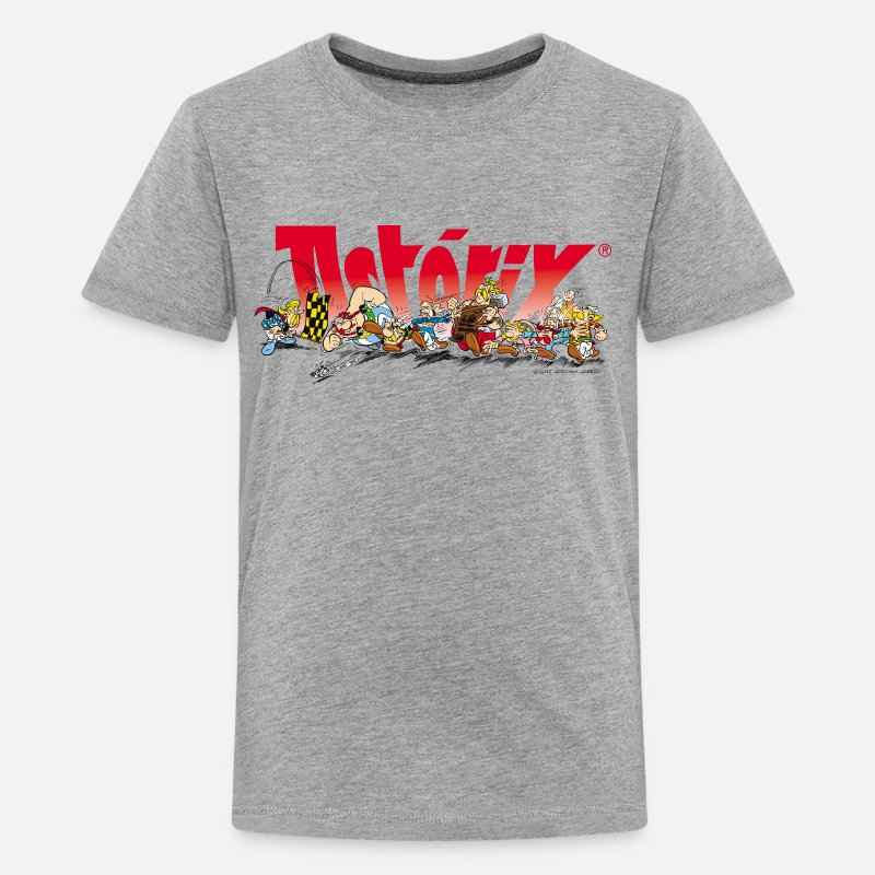 Officialbrands Magliette - Asterix & Obelix Start for the Run Teenager T-Shir - T-Shirt premium per ragazzi grigio melange
