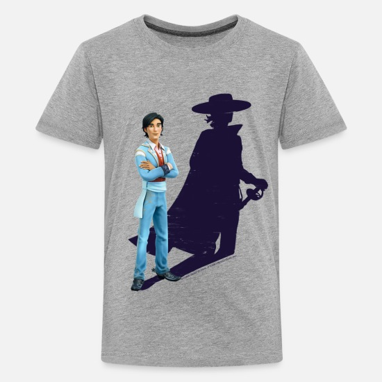 Zorro Camisetas - Zorro The Chronicles Don Diego Shadow - Camiseta premium adolescente gris jaspeado