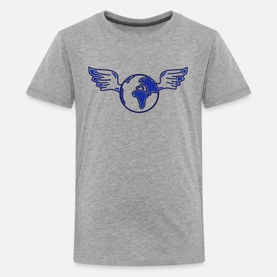Cool T-Shirts - earth with wings - Teenage Premium T-Shirt heather grey