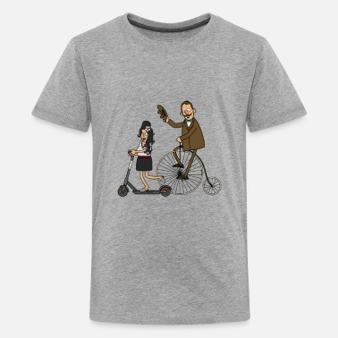 Scooters Meet Cyclists and e-scooters - light surface - Teenage Premium T-Shirt