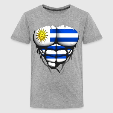 uruguay flag torso body muscle abdos - Teenage Premium T-Shirt