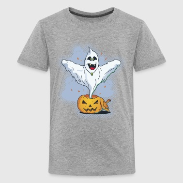 Scary Halloween Ghost with Pumpkin - Teenage Premium T-Shirt