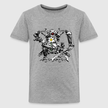 Steampunk/Cyberpunk Robot with a flower Teenager's - Teenager Premium T-shirt