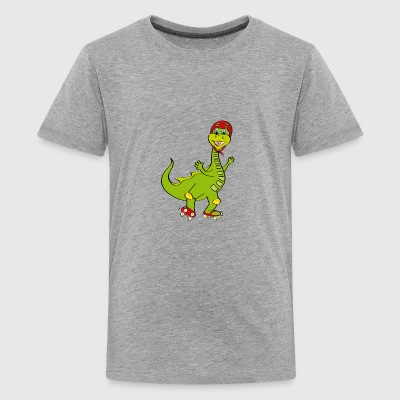 rulleskøjter med dragen - Teenager premium T-shirt