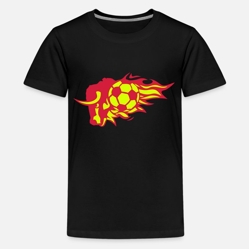 Animal T-shirts - football taureau flamme logo feu animal - T-shirt premium Ado noir