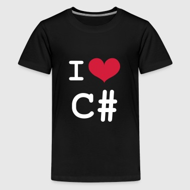 I Love C# [Developer / Geek] - Camiseta premium adolescente