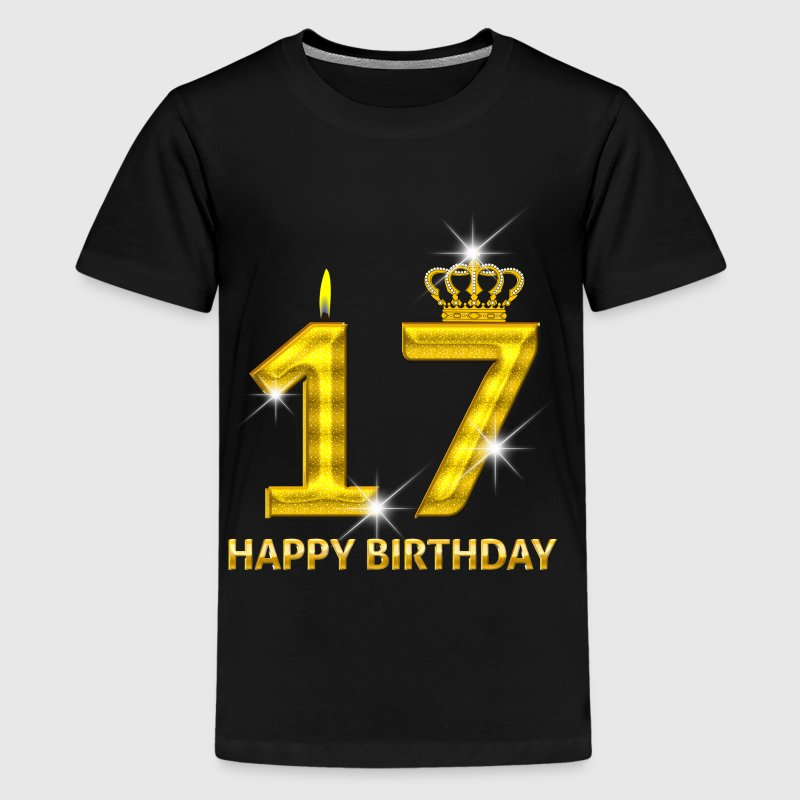 17-happy birthday - birthday - number gold - Teenage Premium T-Shirt