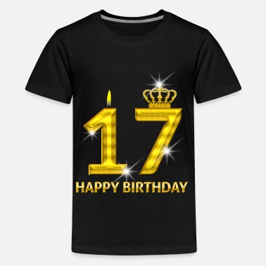 Feliz Cumpleaños oro número 17-feliz cumpleaños - cumpleaños- - Camiseta  premium adolescente d5c819354b4