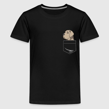 Deutsche Dogge Cartoon Deutsche Dogge Hund in Hemdtasche Geschenk Pocket - Teenager Premium T-Shirt