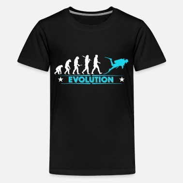Duik Duik evolutie - blauw/wit - Teenager Premium T-shirt
