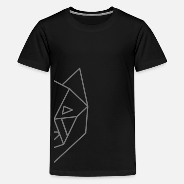 Wolf Face wolf geometric half face - Teenage Premium T-Shirt