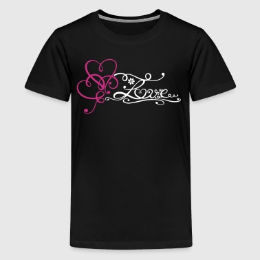 Two big hearts with lettering and flowers. - Teenage Premium T-Shirt