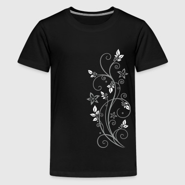 Filigree tendril with leaves and flowers.  - Teenage Premium T-Shirt