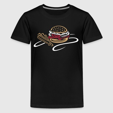 Hamburger mit Pommes, fast food - Teenager Premium T-Shirt