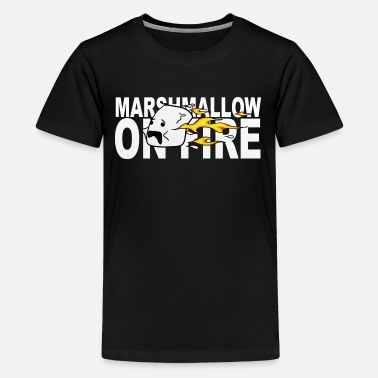 Camp-fire camp camping children fire marshmallow - Teenage Premium T-Shirt