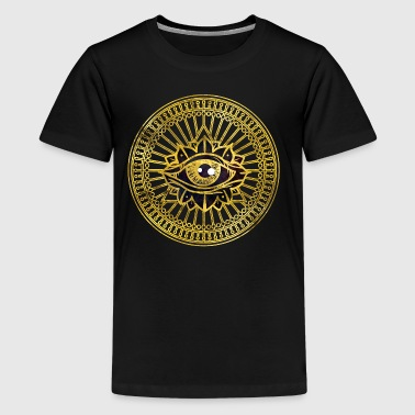 All Seeing Mystic Eye Gold  - Teenage Premium T-Shirt