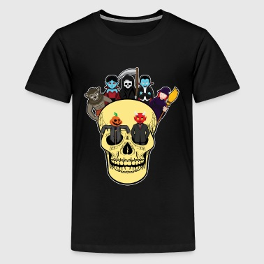 Halloween monster gathering in the skull - Teenage Premium T-Shirt