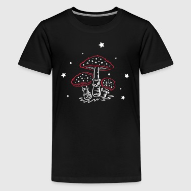 Fly agaric, fungi with stars, mushrooms - Teenage Premium T-Shirt