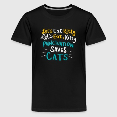 Leestekens Grammatica Duitse leestekens interpunctie cat - Teenager Premium T-shirt