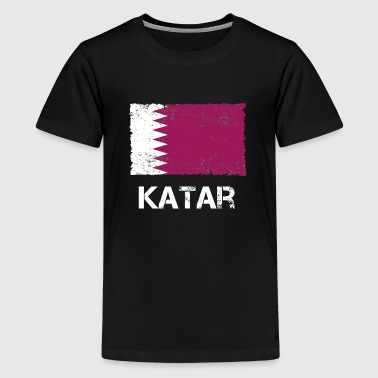 Qatar flag bruges ser vintage gave ide - Teenager premium T-shirt