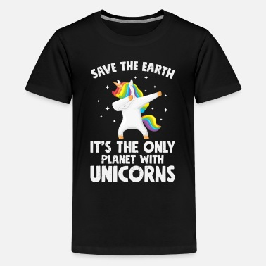 Huumori Unicorns Save the earth - Teinien premium t-paita