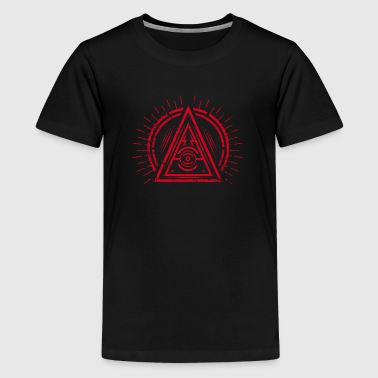 Illuminati - All Seeing Eye - Satan / Black Symbol - Premium T-skjorte for tenåringer