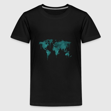 World map akvarell akvarell - Premium T-skjorte for tenåringer