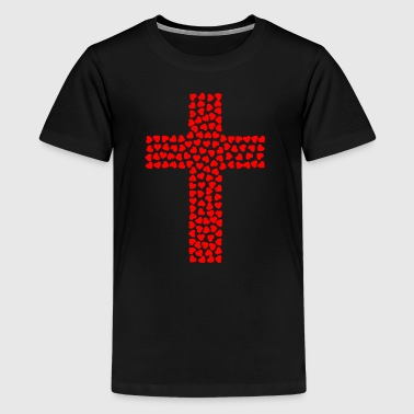 Cross out of heart - Teenage Premium T-Shirt