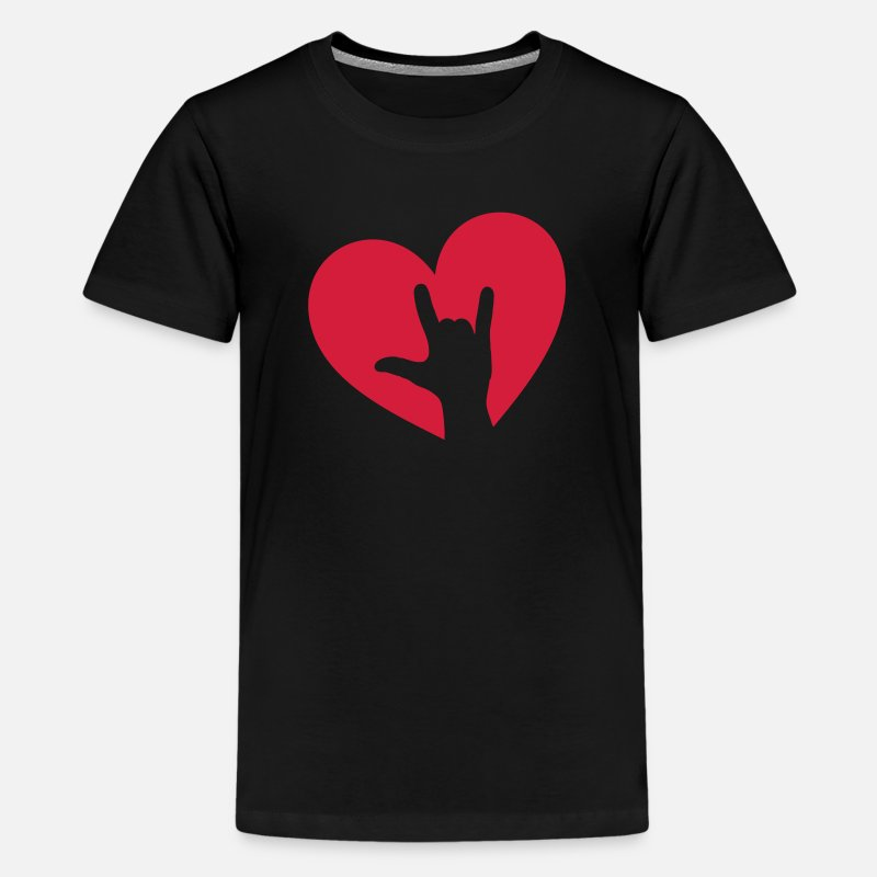Rock 'n' Roll T-Shirts - Rock music hand heart, party, festival, i love you - Teenage Premium T-Shirt black