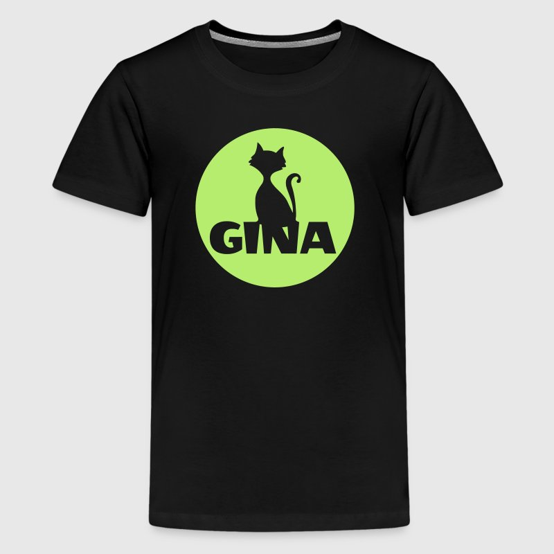 Gina cat name design moonligt bday gift - Teenage Premium T-Shirt